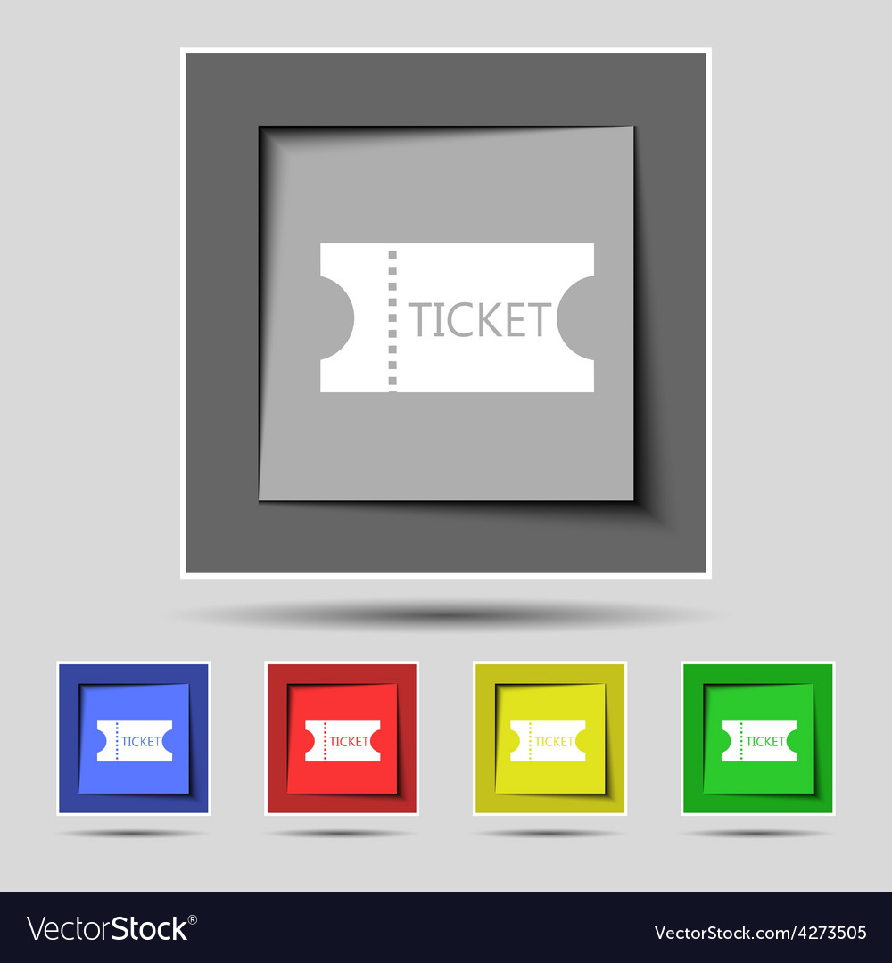 Ticket icon sign on the original five colored vector | Price: 1 Credit (USD $1)
