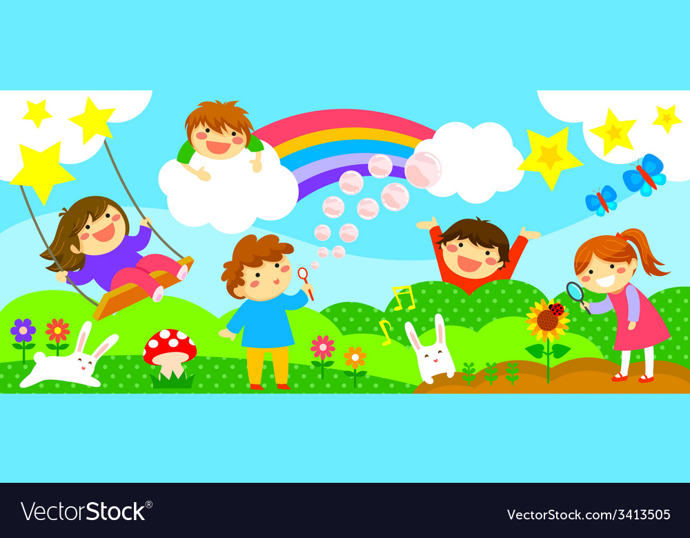 Wide strip with happy kids vector | Price: 1 Credit (USD $1)