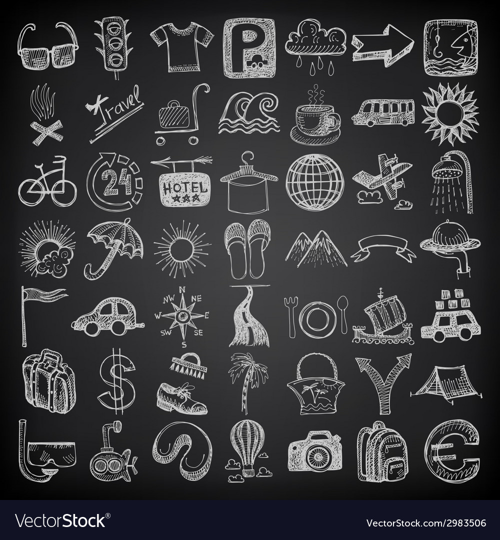 49 hand drawing doodle icon set travel theme on vector | Price: 1 Credit (USD $1)