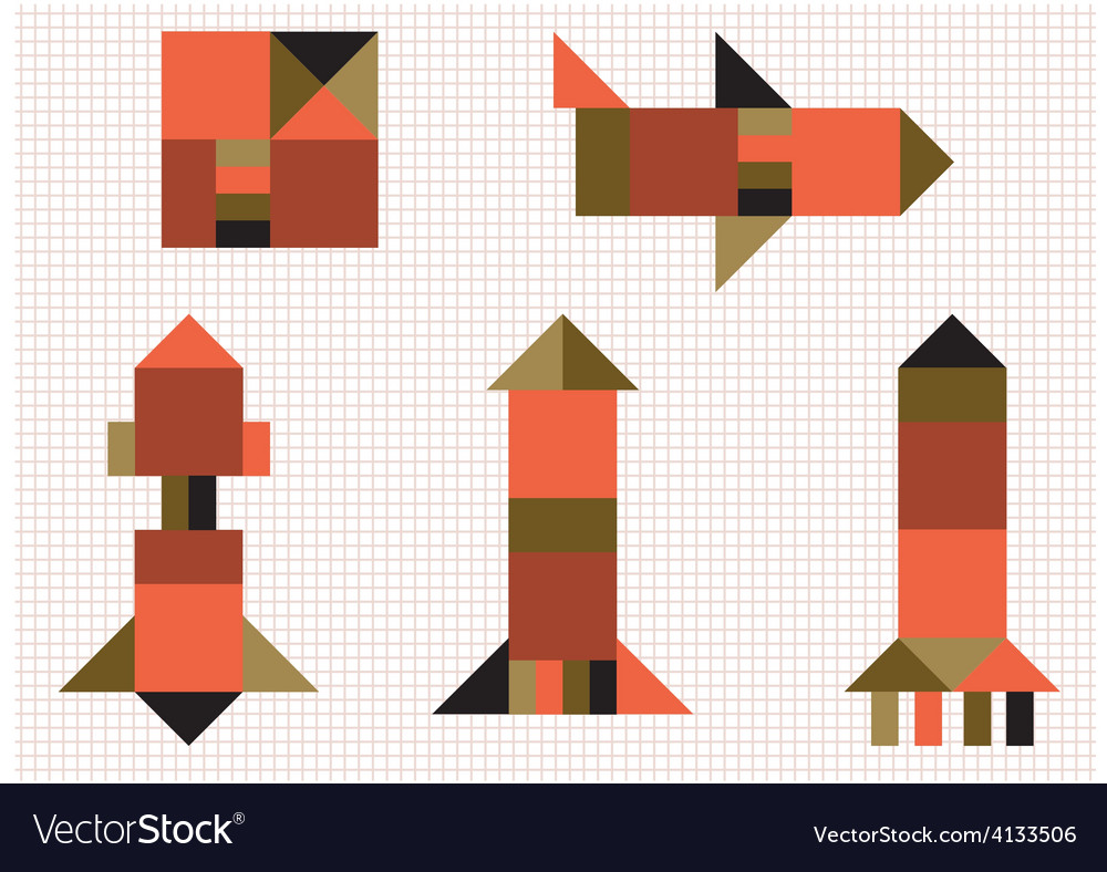 Aircraft rocket geometric shapes vector | Price: 1 Credit (USD $1)