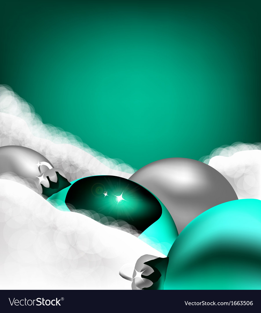 Christmas cyan toy on cotton wool vector | Price: 1 Credit (USD $1)