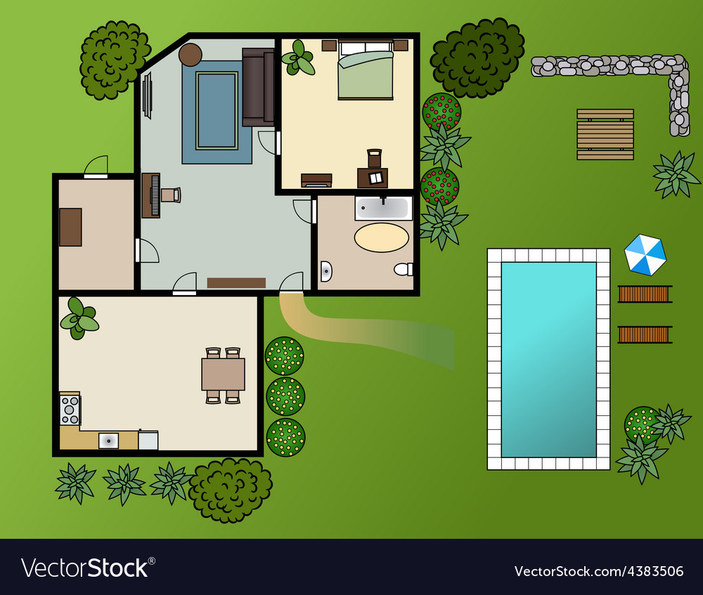 Country house scheme with furniture garden vector | Price: 1 Credit (USD $1)