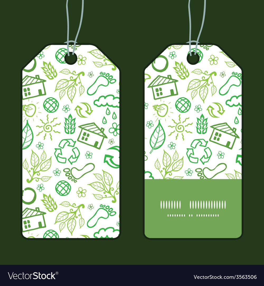 Ecology symbols vertical stripe frame pattern tags vector | Price: 1 Credit (USD $1)