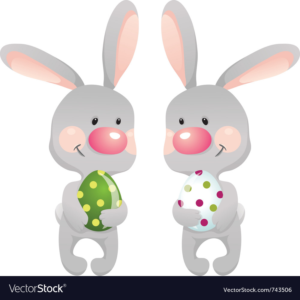 Funny rabbits with egg eps10 contains transparent vector | Price: 1 Credit (USD $1)