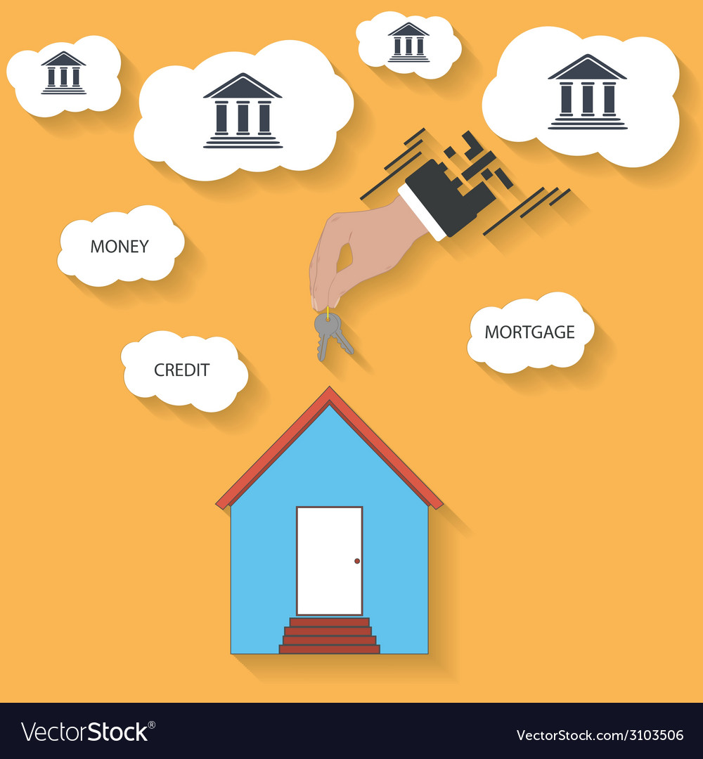 House keys in hand - mortgage concept vector | Price: 1 Credit (USD $1)