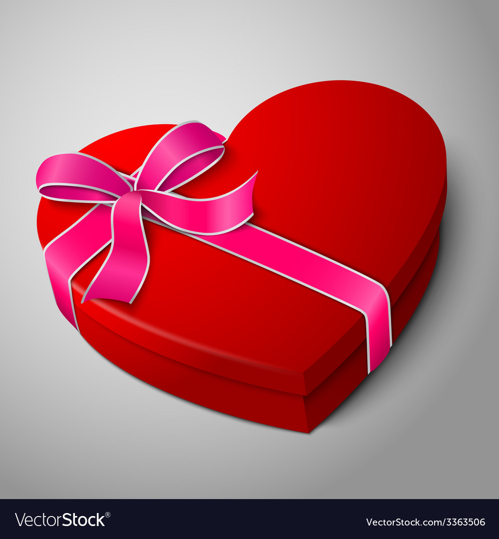 Realistic blank bright red heart shape box with vector | Price: 3 Credit (USD $3)