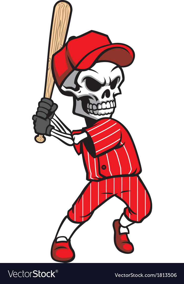 Skull baseball mascot vector | Price: 1 Credit (USD $1)