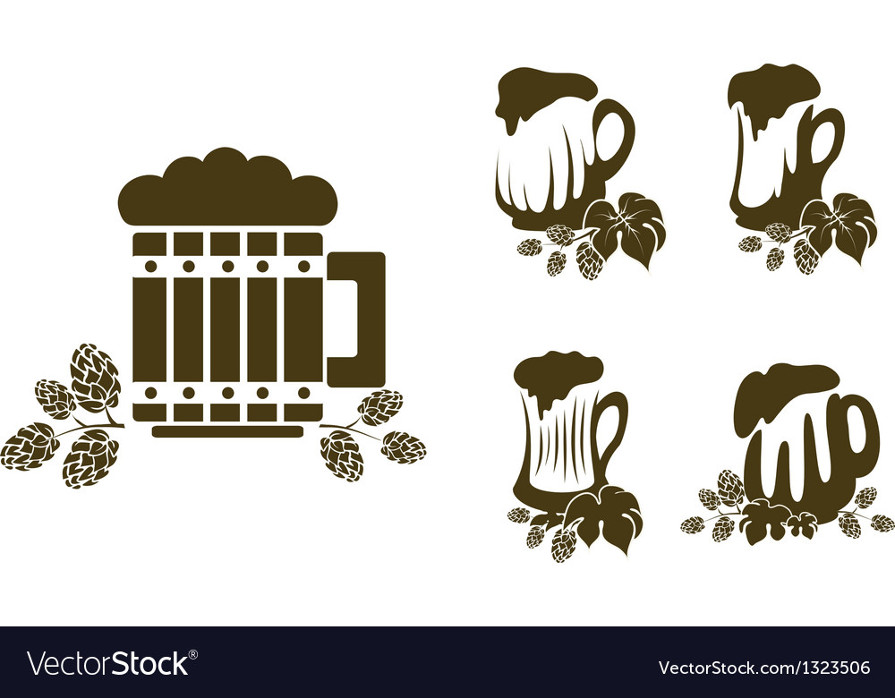 Stylized glass of beer with hop branches vector | Price: 1 Credit (USD $1)