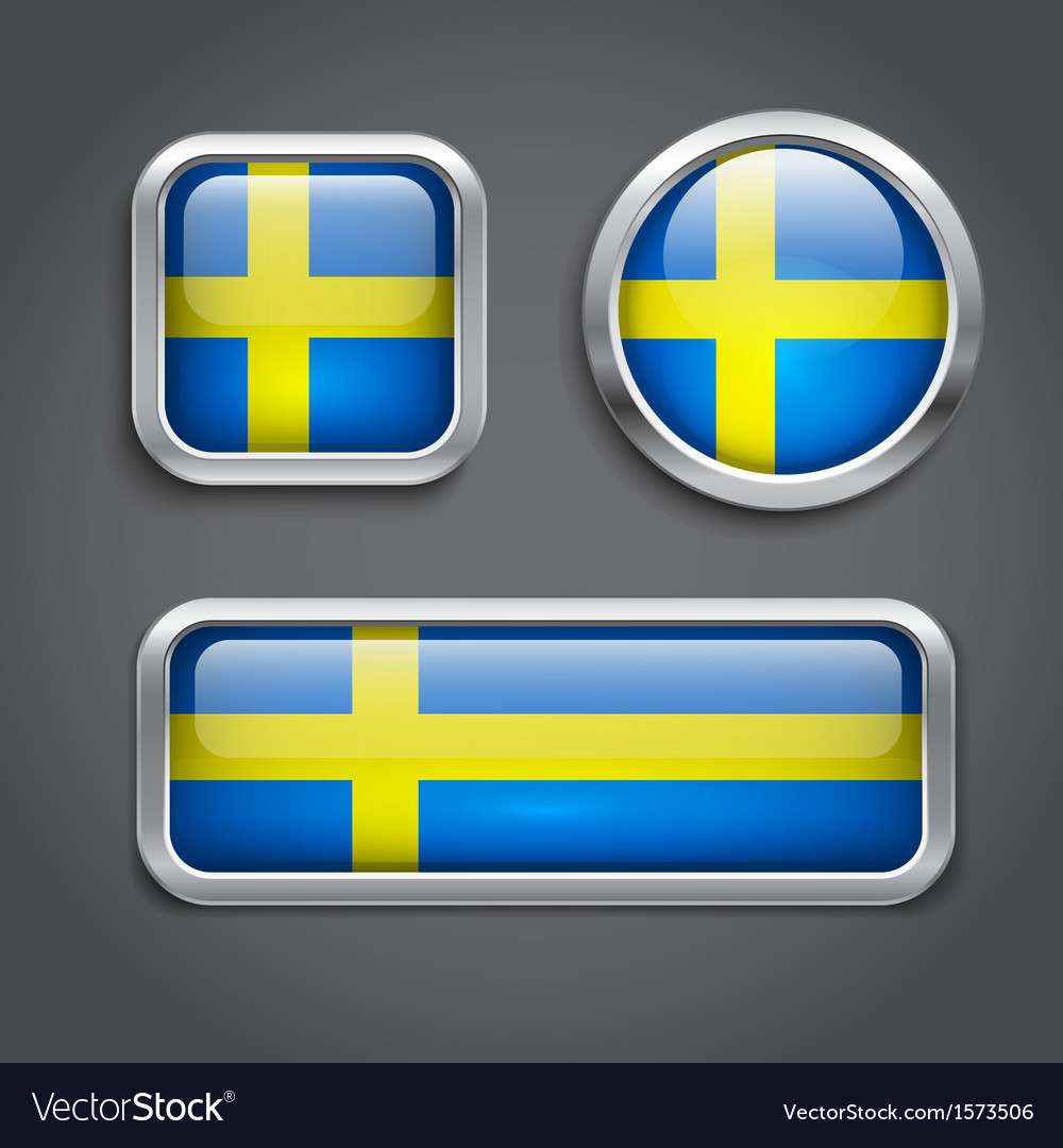 Sweden flag glass buttons vector | Price: 1 Credit (USD $1)