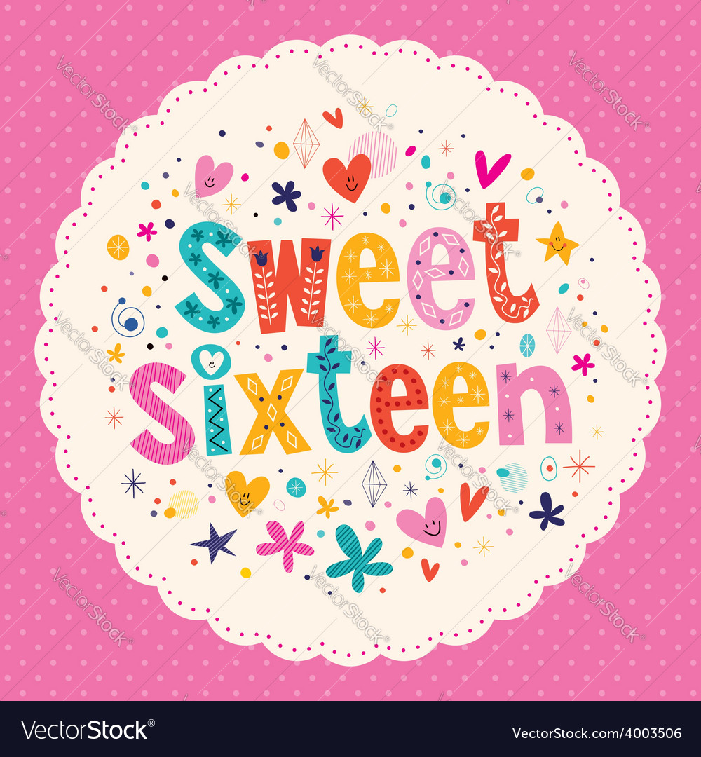 Sweet sixteen card vector | Price: 1 Credit (USD $1)
