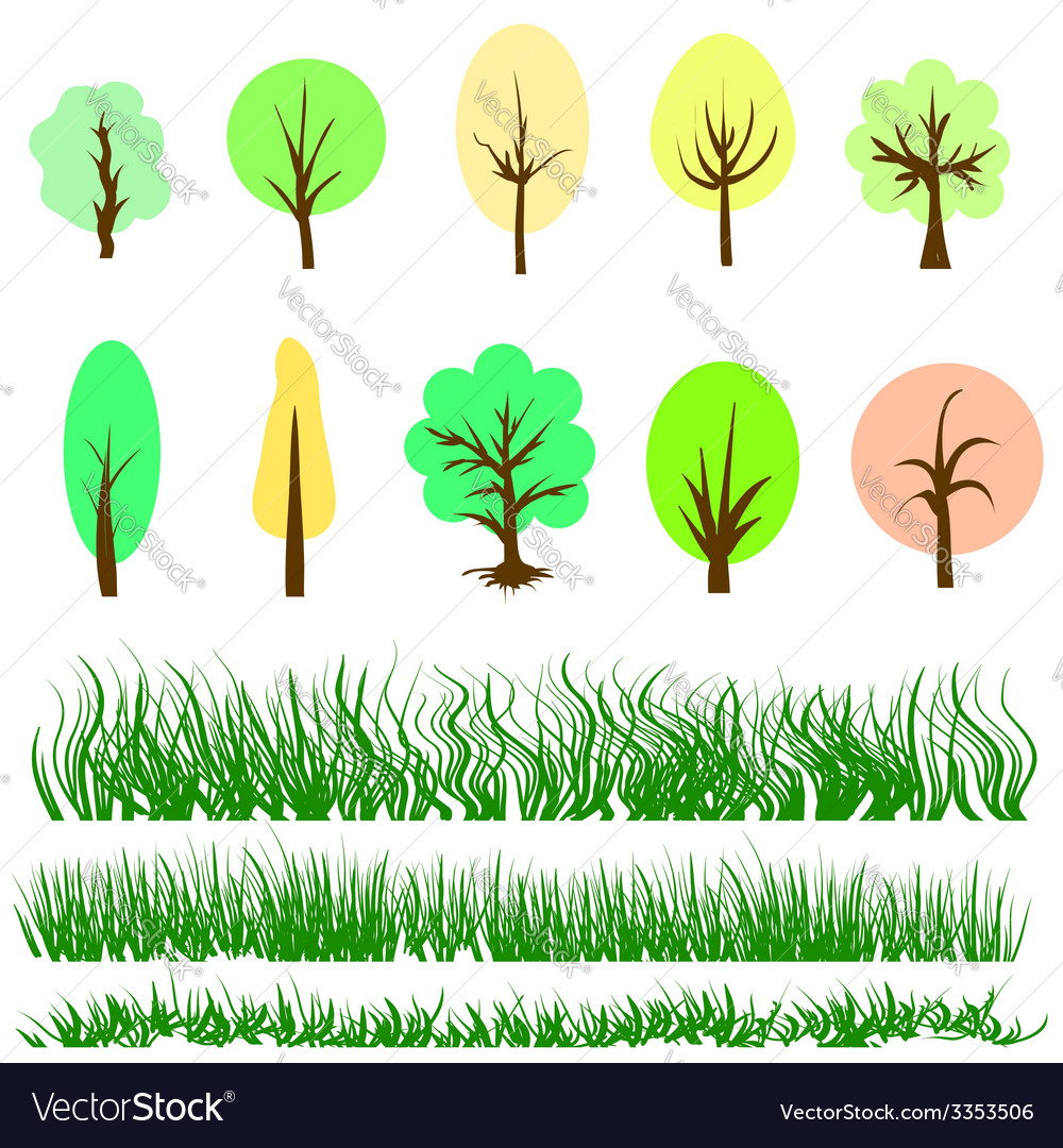 Trees and grass vector | Price: 1 Credit (USD $1)