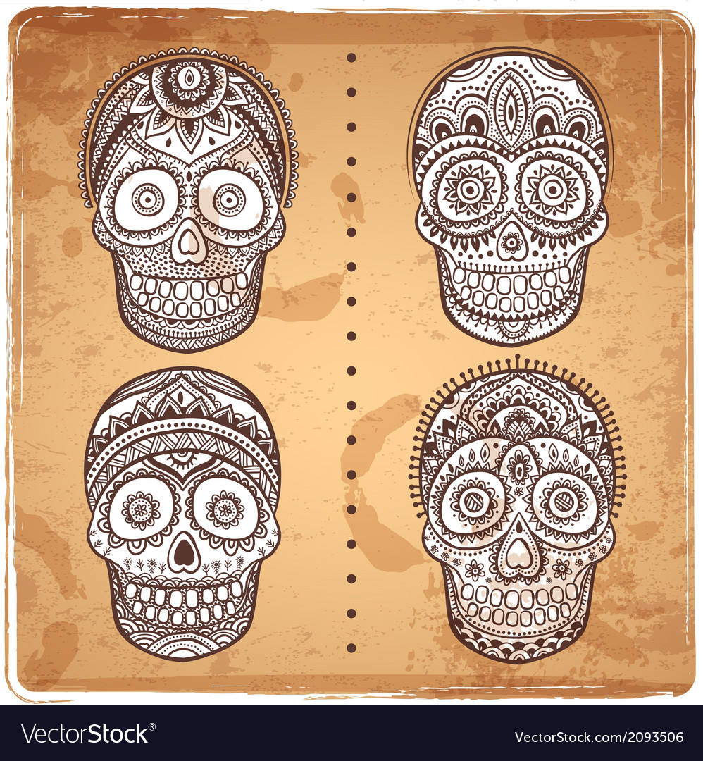 Vintage ethnic hand drawn human skulls set vector | Price: 1 Credit (USD $1)
