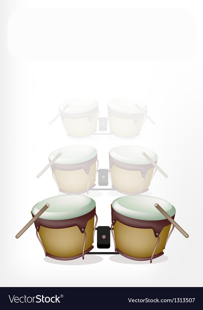 Bongo drum with sticks on white background vector | Price: 1 Credit (USD $1)