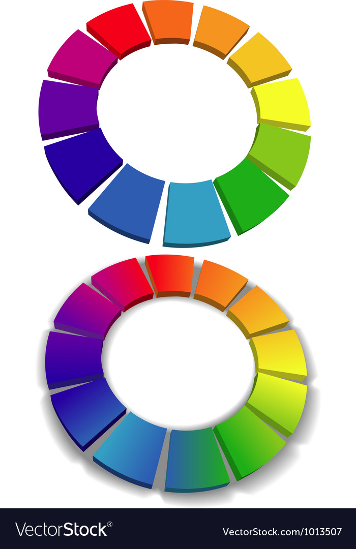 Color wheel set 3d wheels colors choice vector | Price: 1 Credit (USD $1)
