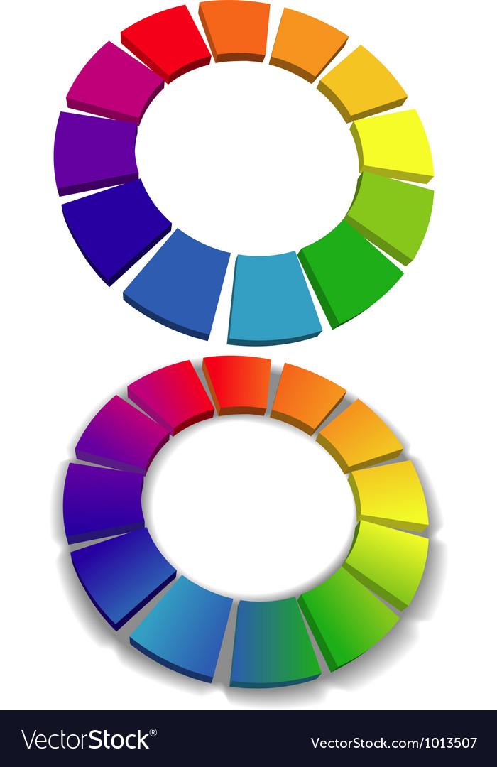Color wheel set 3d wheels colors choice vector | Price: 1 Credit (USD $1)