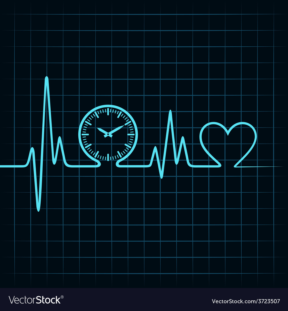 Heartbeat with a clock symbol in line vector | Price: 1 Credit (USD $1)