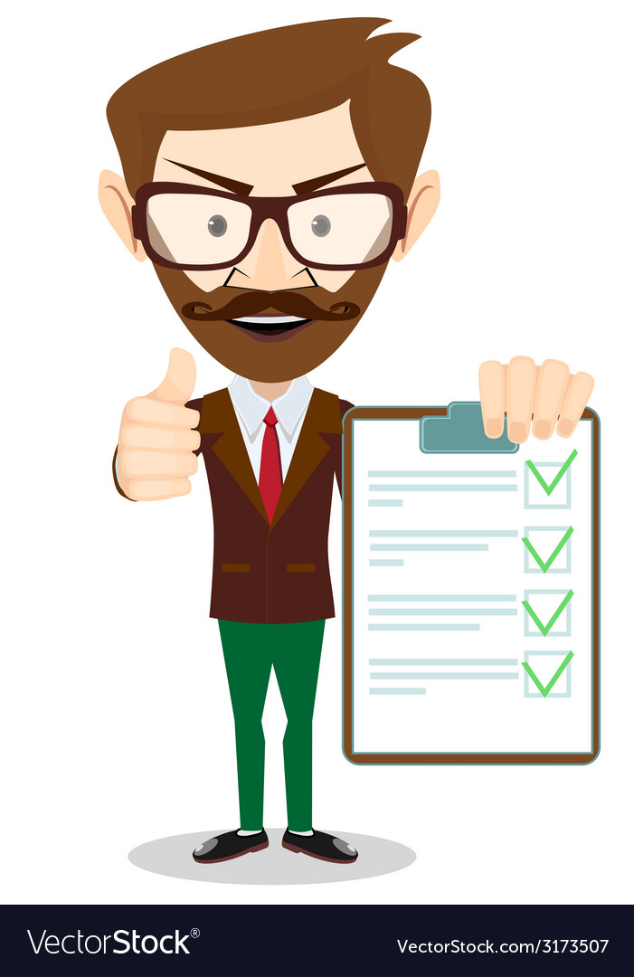Hipster holding a paper with green flags vector   Price: 1 Credit (USD $1)