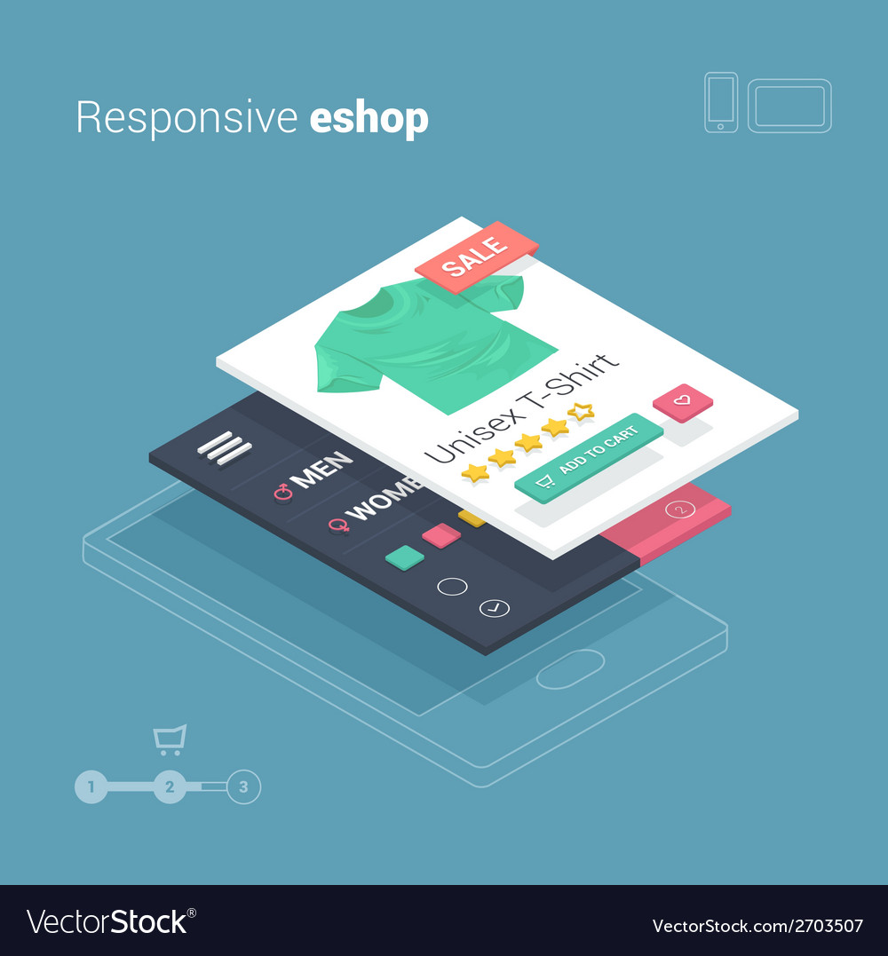 Mobile shopping with responsive eshop website appl vector | Price: 1 Credit (USD $1)