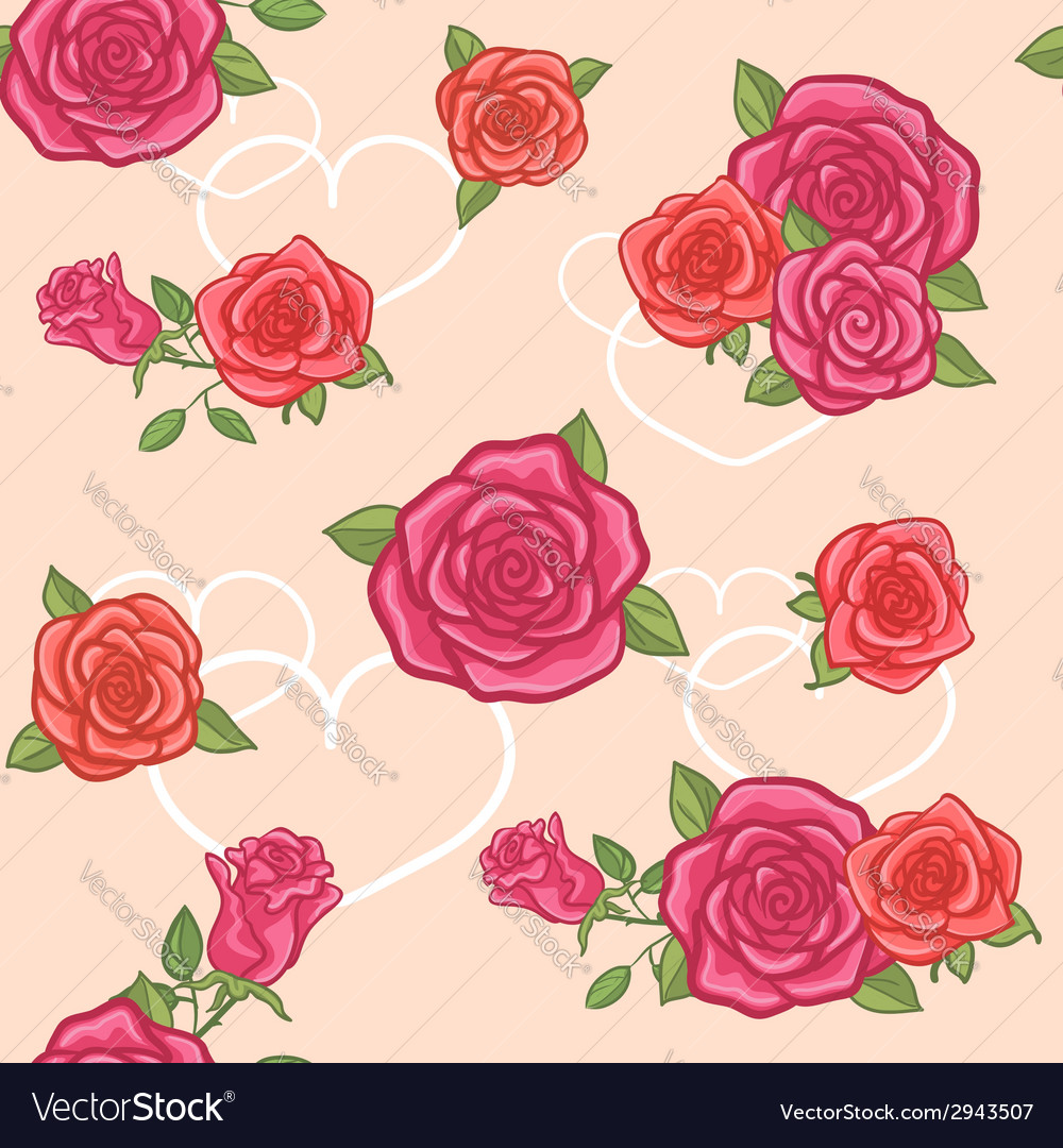 Seamless background with roses and hearts vector | Price: 1 Credit (USD $1)