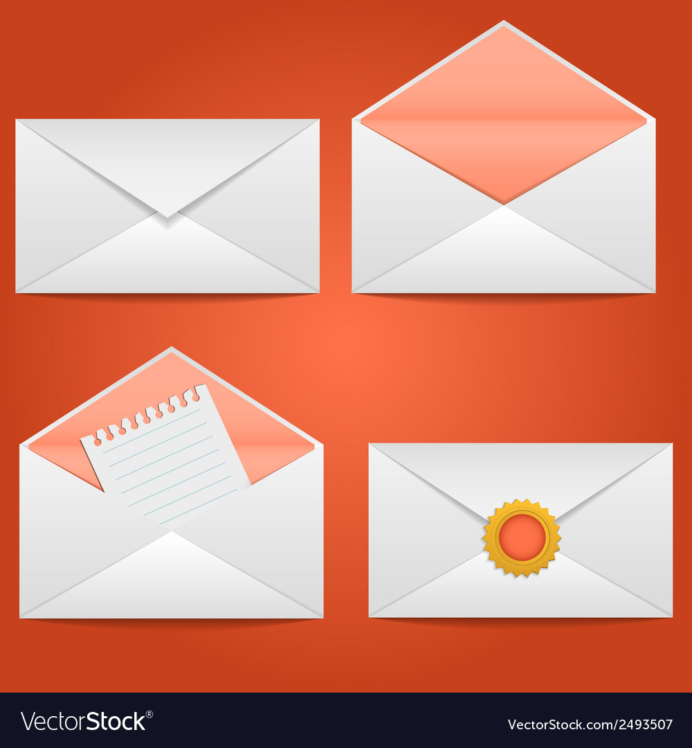 Set of envelopes open closed sealed with a letter vector | Price: 1 Credit (USD $1)