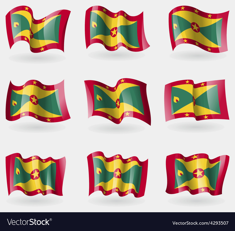 Set of grenada flags in the air vector | Price: 3 Credit (USD $3)