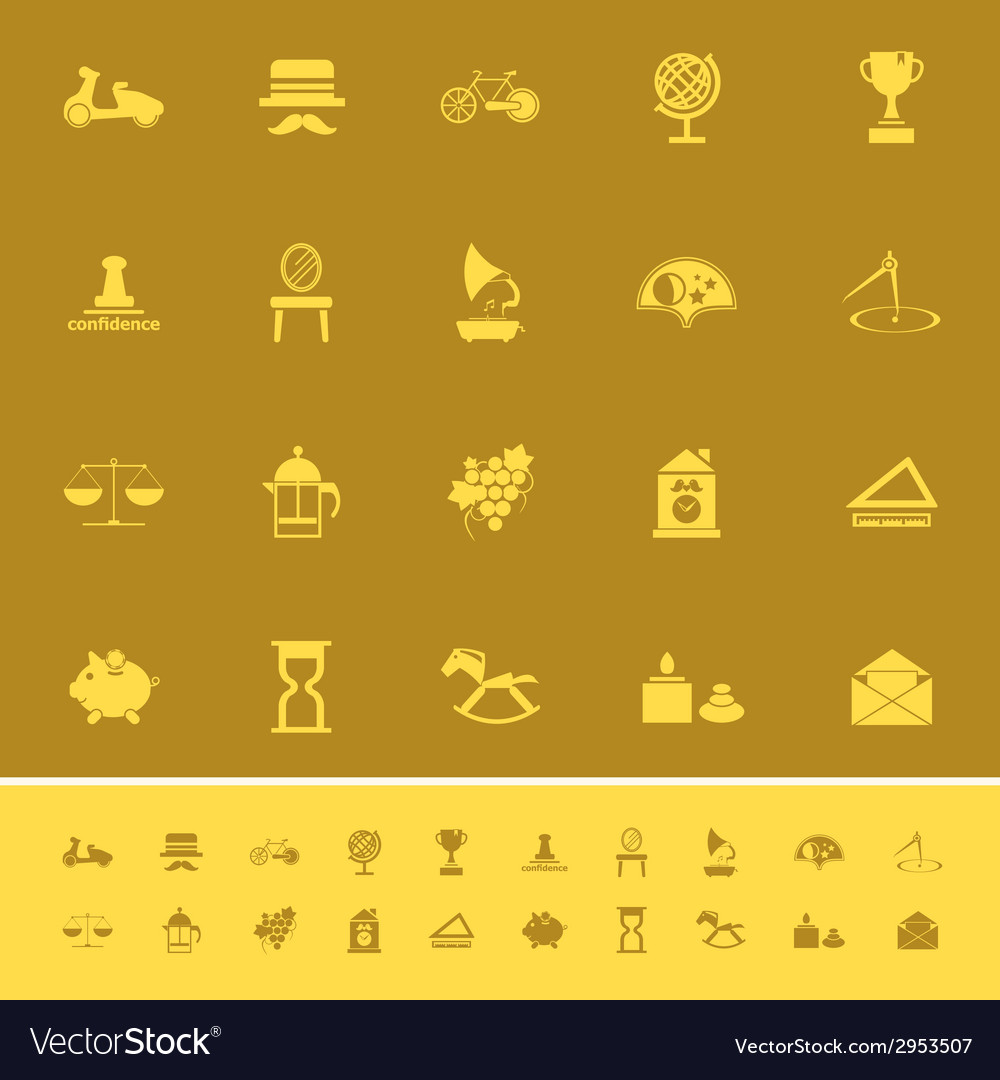 Vintage item color icons on brown background vector | Price: 1 Credit (USD $1)