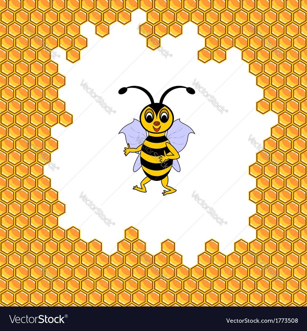 A funny cartoon bee surrounded by honeycombs vector | Price: 1 Credit (USD $1)
