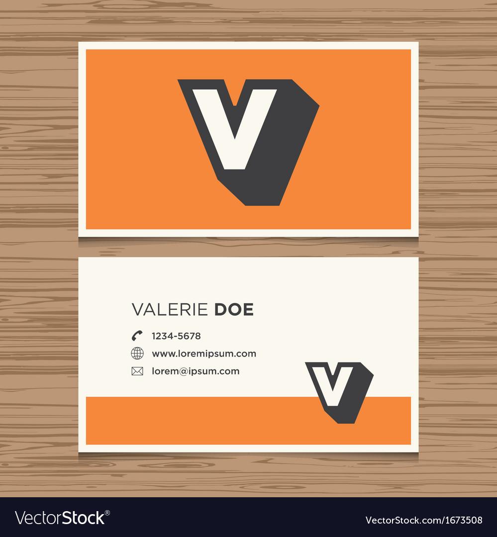 Business card letter v vector | Price: 1 Credit (USD $1)