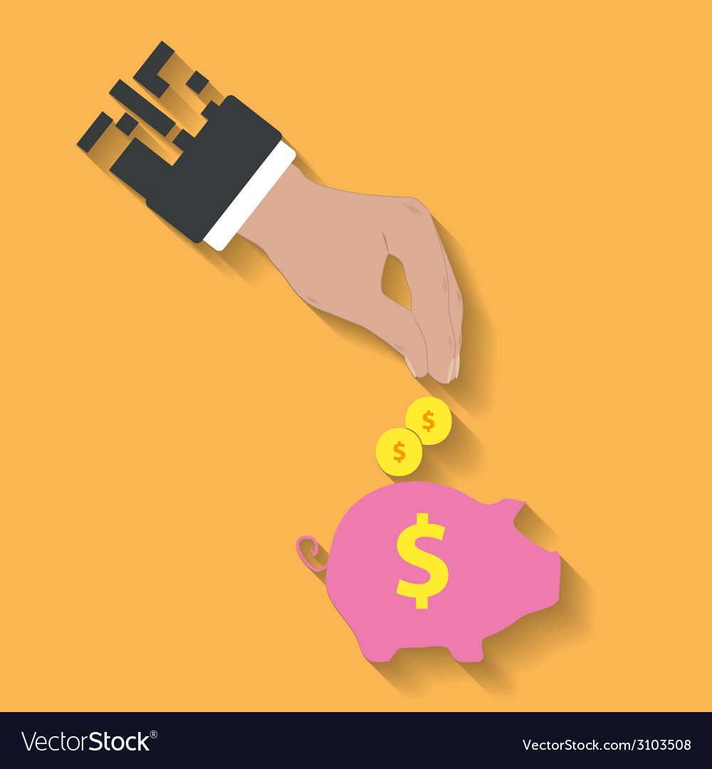 Business hand saving money in piggy bank vector | Price: 1 Credit (USD $1)