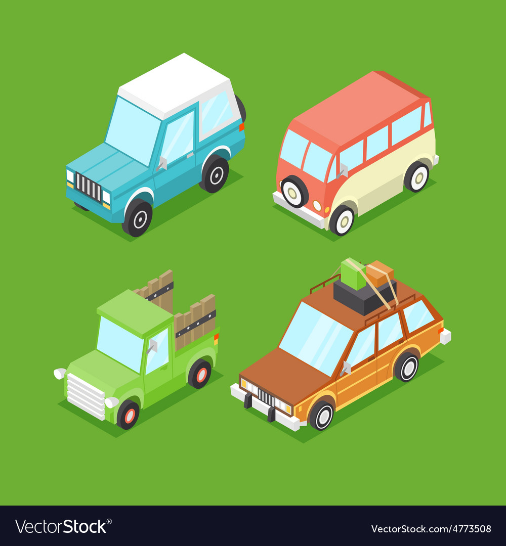 Cartoon isometric cars vector | Price: 1 Credit (USD $1)