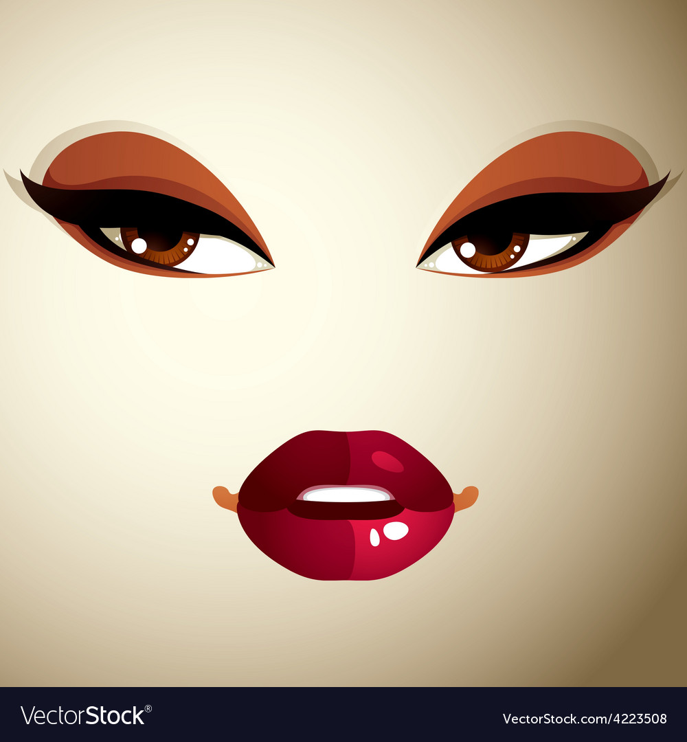 Coquette woman eyes and lips stylish makeup people vector | Price: 1 Credit (USD $1)
