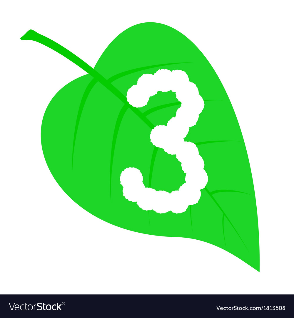 Figure three on a green leaf vector | Price: 1 Credit (USD $1)