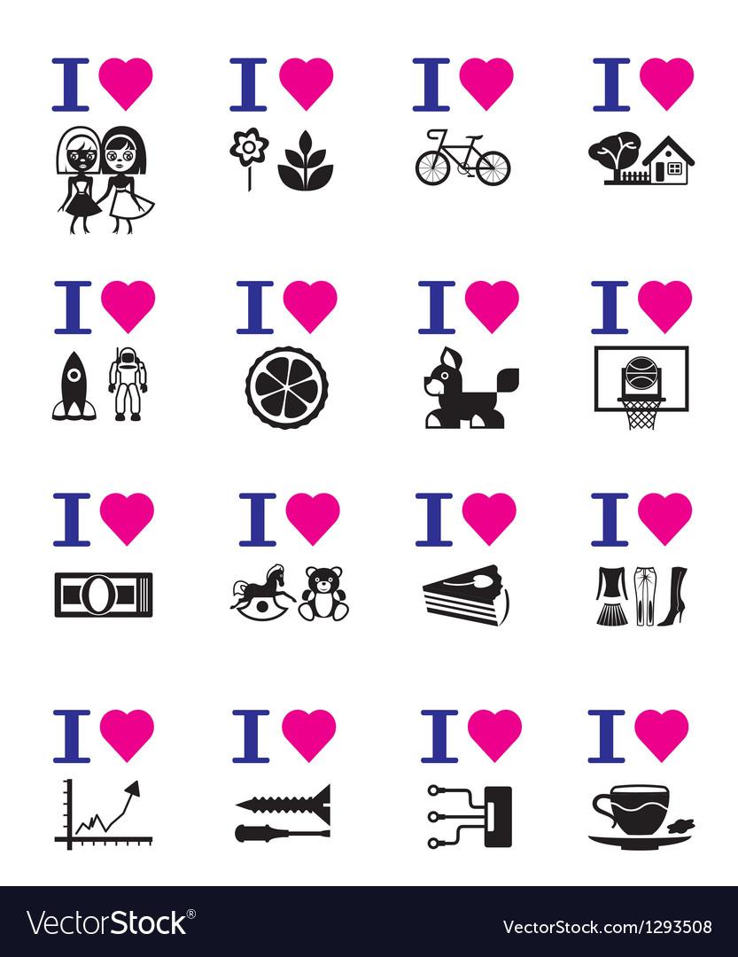 Funny love icon set vector | Price: 1 Credit (USD $1)