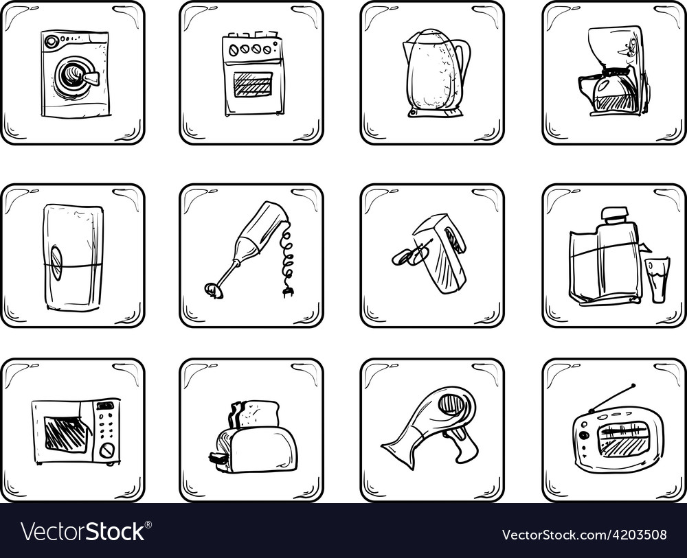 Household equipment icons vector | Price: 1 Credit (USD $1)