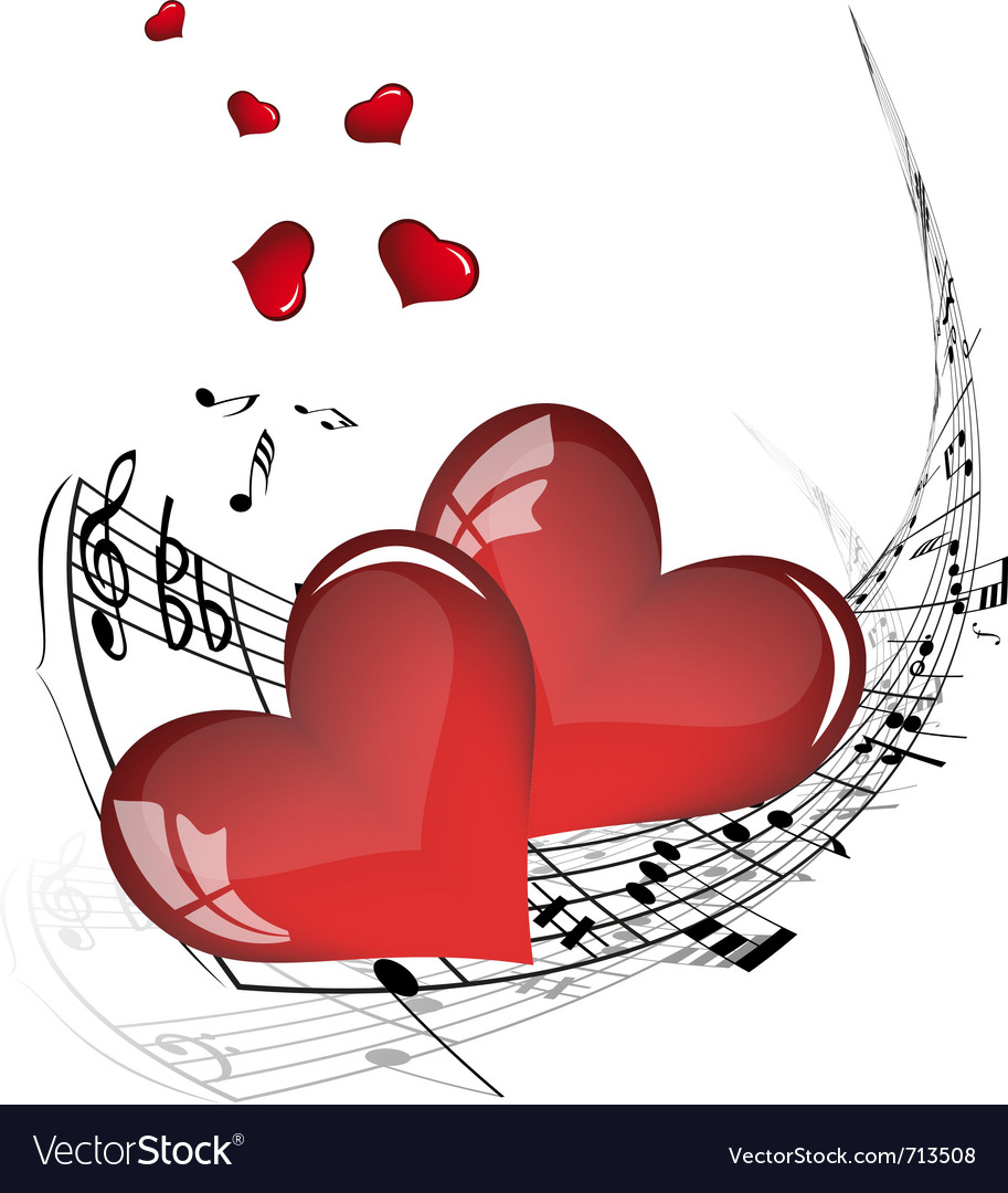 Musical valentines day background vector | Price: 1 Credit (USD $1)