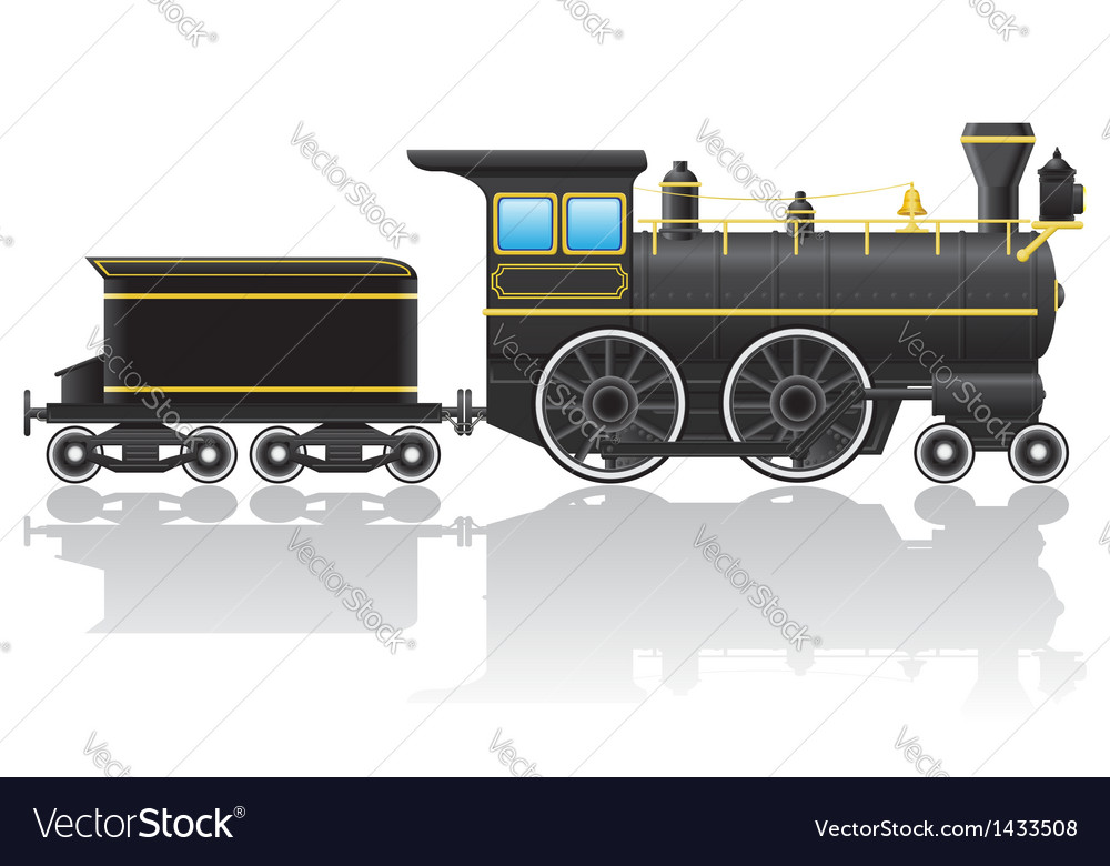 Old retro locomotive vector | Price: 1 Credit (USD $1)