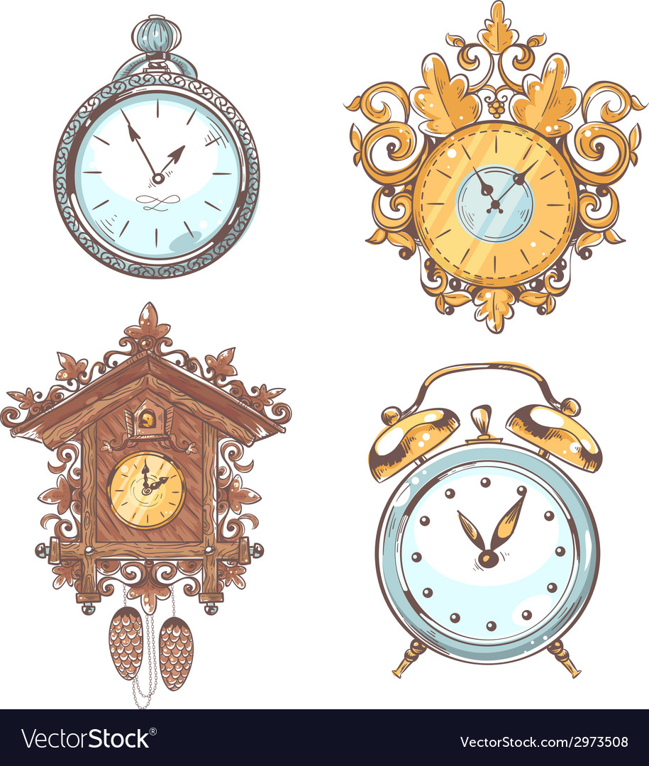 Old vintage clock set vector | Price: 1 Credit (USD $1)