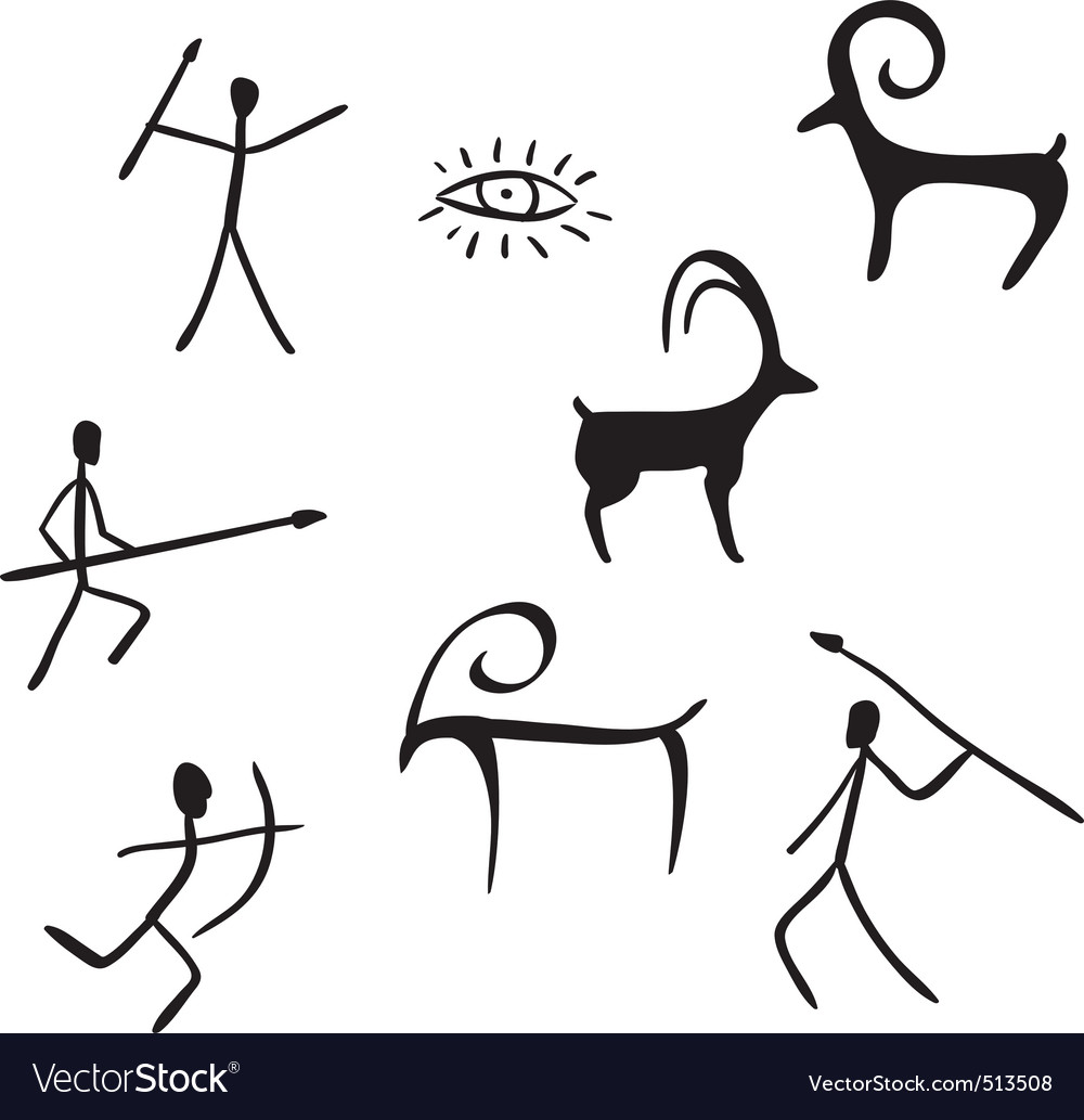 Primitive figures looks like cave painting vector | Price: 1 Credit (USD $1)