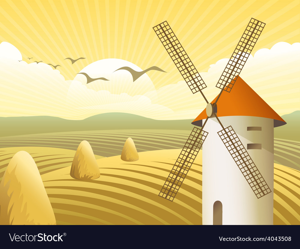 Rural landscape vector | Price: 5 Credit (USD $5)