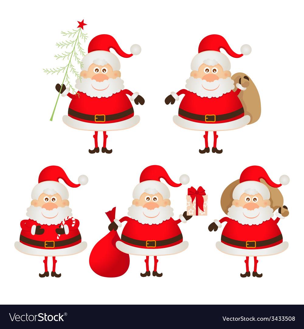 Set of cute smiling santa claus vector | Price: 1 Credit (USD $1)