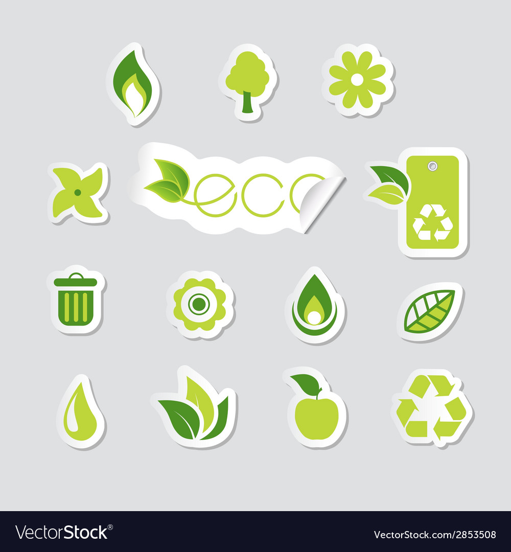 Set of ecology icons vector | Price: 1 Credit (USD $1)