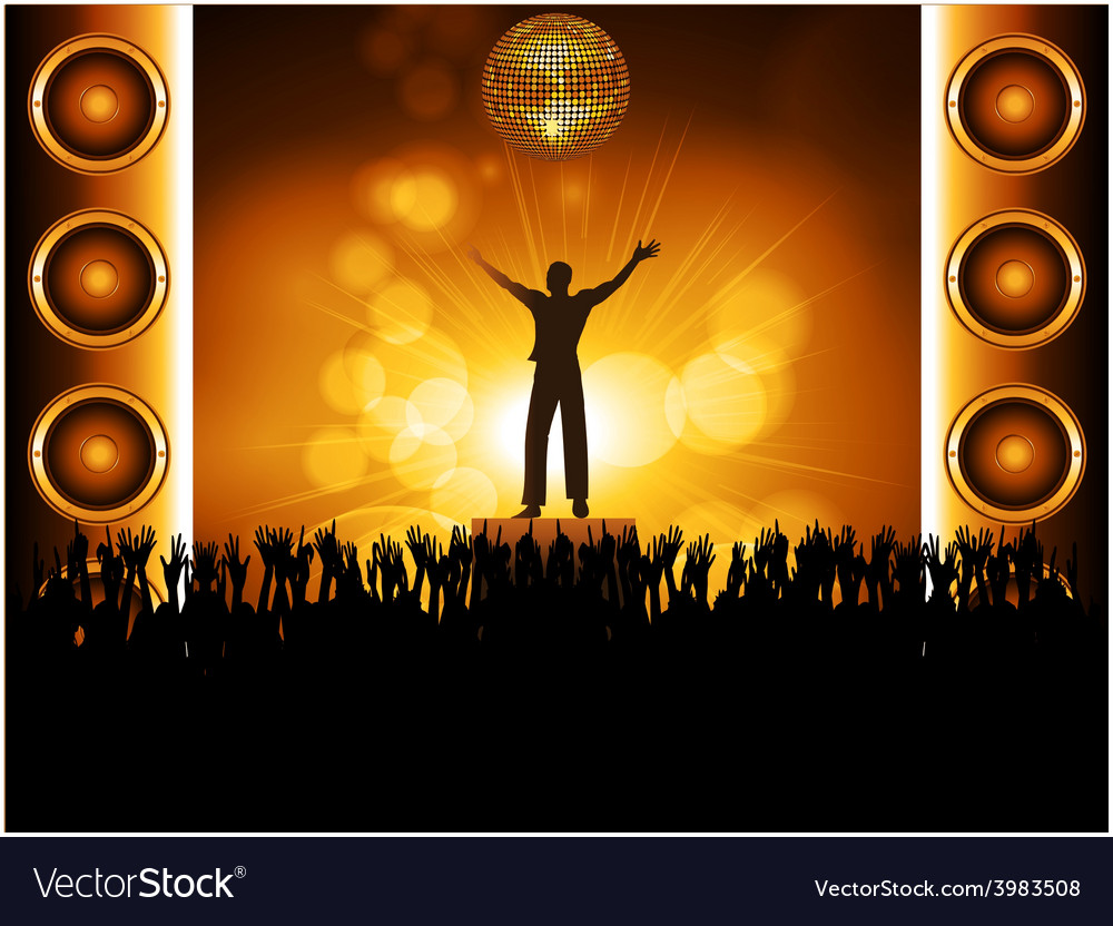 Star on stage with crowd vector | Price: 1 Credit (USD $1)