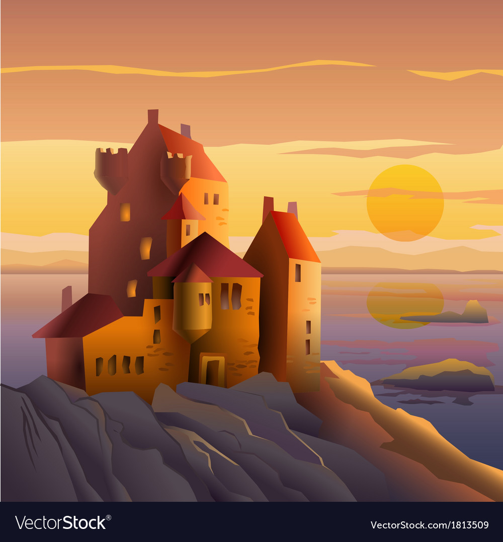 Castle on the coast at sunset vector | Price: 1 Credit (USD $1)