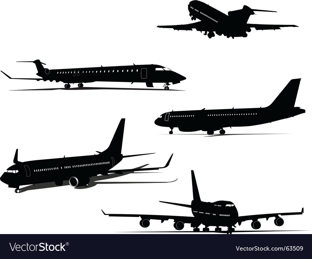 Five planes vector | Price: 1 Credit (USD $1)