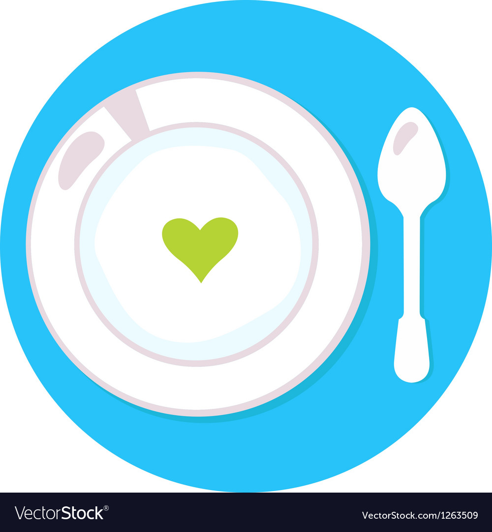 Healthy soup with heart isolated on blue circle vector | Price: 1 Credit (USD $1)
