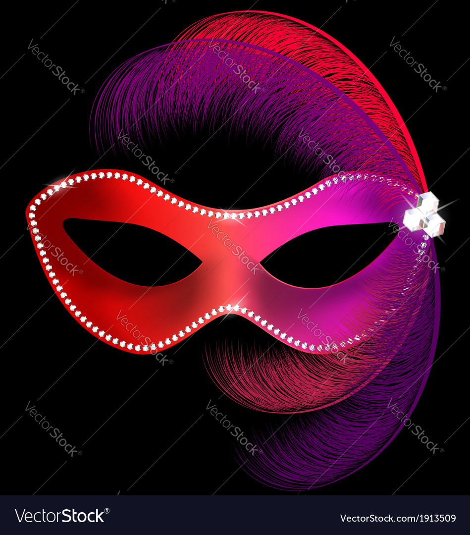 Red carnival mask with feathers vector | Price: 1 Credit (USD $1)