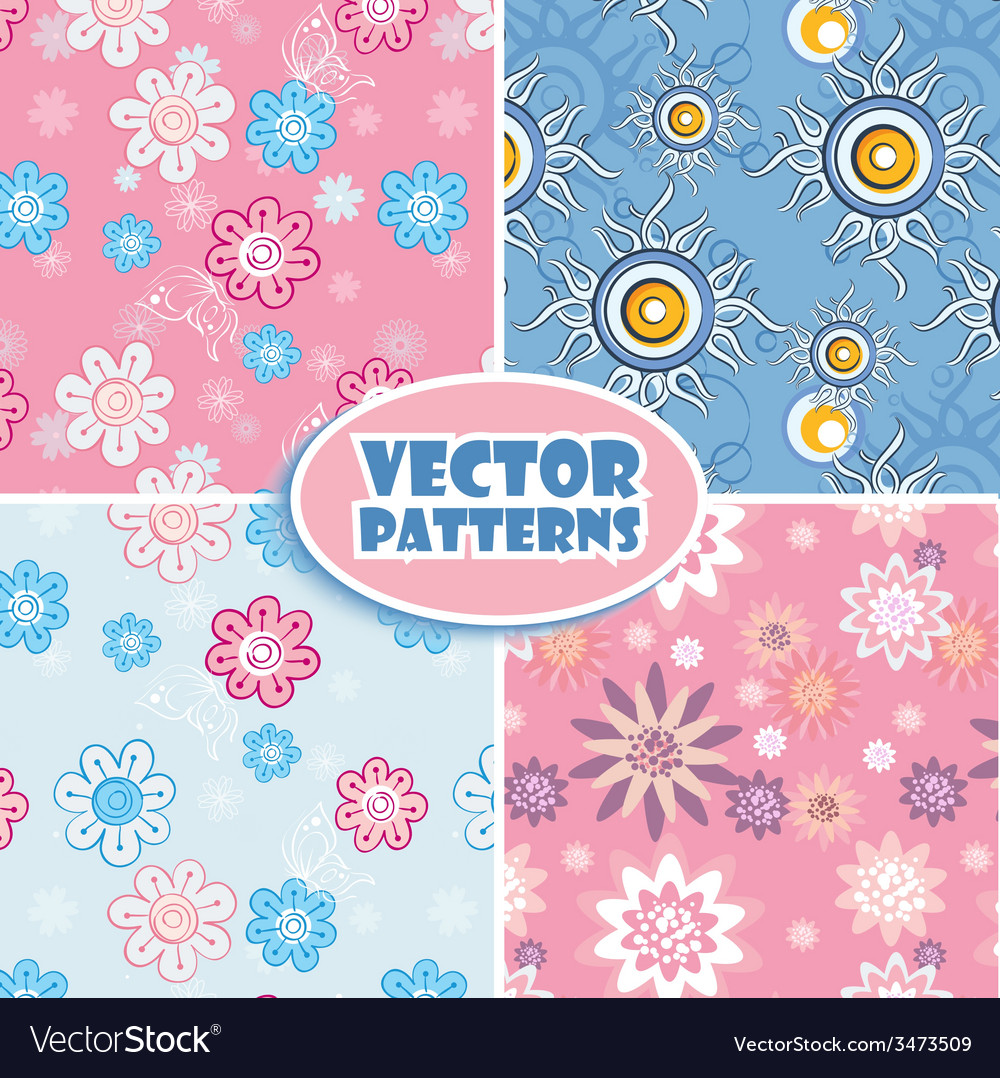 Set of seamless backgrounds pink and blue vector | Price: 1 Credit (USD $1)