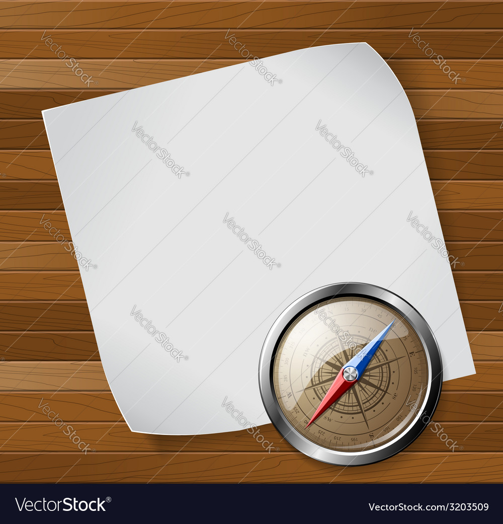Steel detailed compass and white paper sheet over vector | Price: 1 Credit (USD $1)