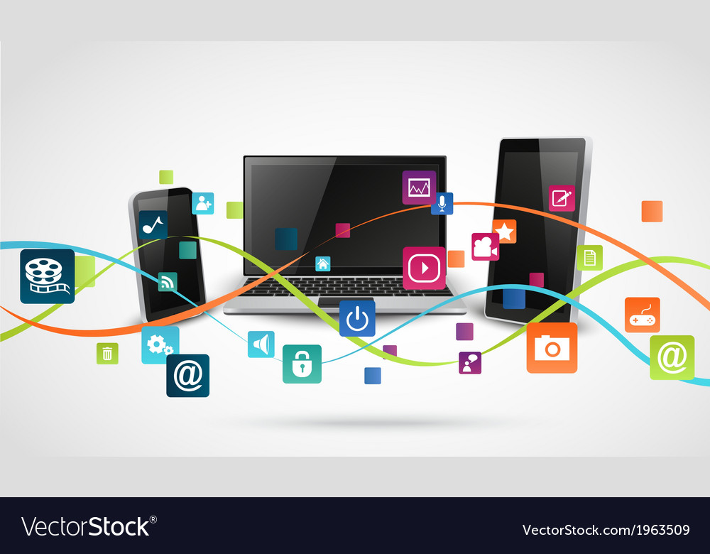 Tablet computer and mobile phones with colorful vector | Price: 1 Credit (USD $1)