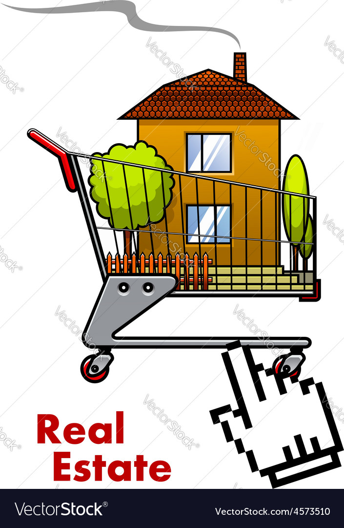 Cart with house for real estate industry vector | Price: 1 Credit (USD $1)